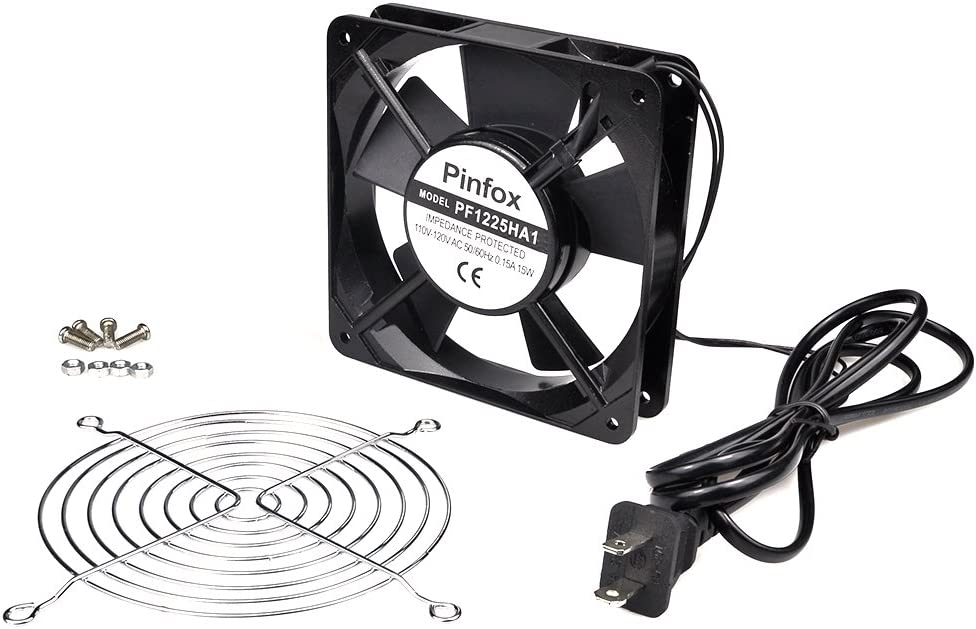 Pinfox 110V AC High Speed Cabinet 1225 Cooling Fan, 120mm x 120mm x 25mm, 115V 120V Dual Ball Bearings for Incubator, Home Brewing (120mm x 120mm x 25mm)