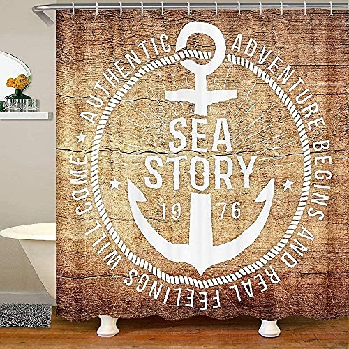 Bath Curtain Ocean Anchor Shower Curtain Retro Wodden Board Fabric Shower Curtains Kids BoysYacht Adventure Theme Marble Waterproof Curtain Sets for Stalls Bathtubs 72' W x 72' L