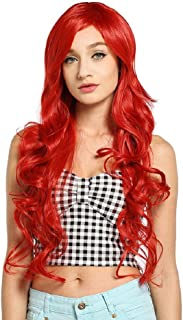 MelodySusie Cosplay Red Long Curly Wavy Wig for Women, 34 Inches Synthetic Hair Replacements Wigs with Side Part Bangs Daily Halloween Costume Wig with Free Wig Cap, Red