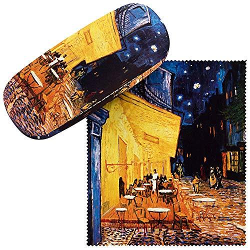 VON LILIENFELD Brillenetui Geschenk Stabil Set mit Putztuch Kunst Damen Herren Vincent van Gogh: Nachtcafé