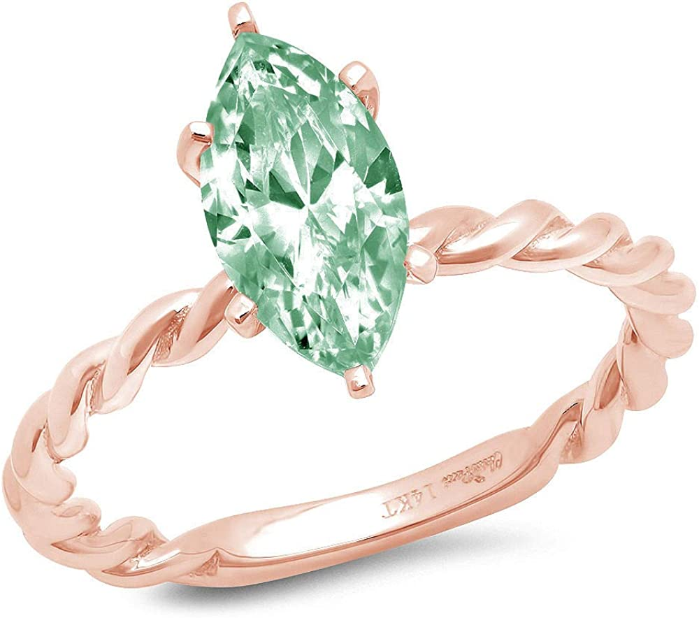 1.9ct Marquise Cut Solitaire Rope Twisted Knot Light Sea Green Simulated Diamond Cubic Zirconia Ideal VVS1 Engagement Wedding Bridal Promise Anniversary Ring Solid 14k Pink Rose Gold for Women