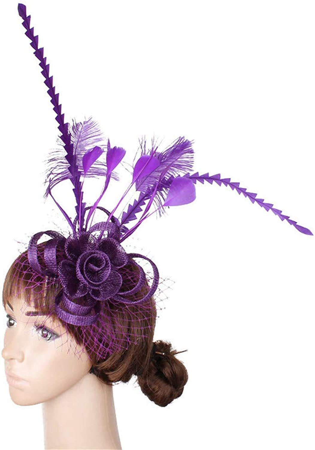 Ladies Feather Fascinator Headwear Feather Flower Cocktail Tea Party Royal Ascot Wedding Hat (color   Purple)