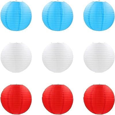f/êtes 10,2 cm de tailles diff/érentes patios et pi/èces 15,2 cm et 20,3 cm Abat-jour en papier pour mariages c/él/ébrations Lot de 6 lanternes en papier rondes blanches avec nervures m/étalliques