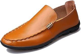 [QIFENGDIANZI] ドライビングシューズ メンズ 全5色 24.0cm-27.0cm おしゃれ 紳士靴 スリッポン 快適 ソフト コンフォート ホワイト ブラウン ネイビー イエロー ブラック