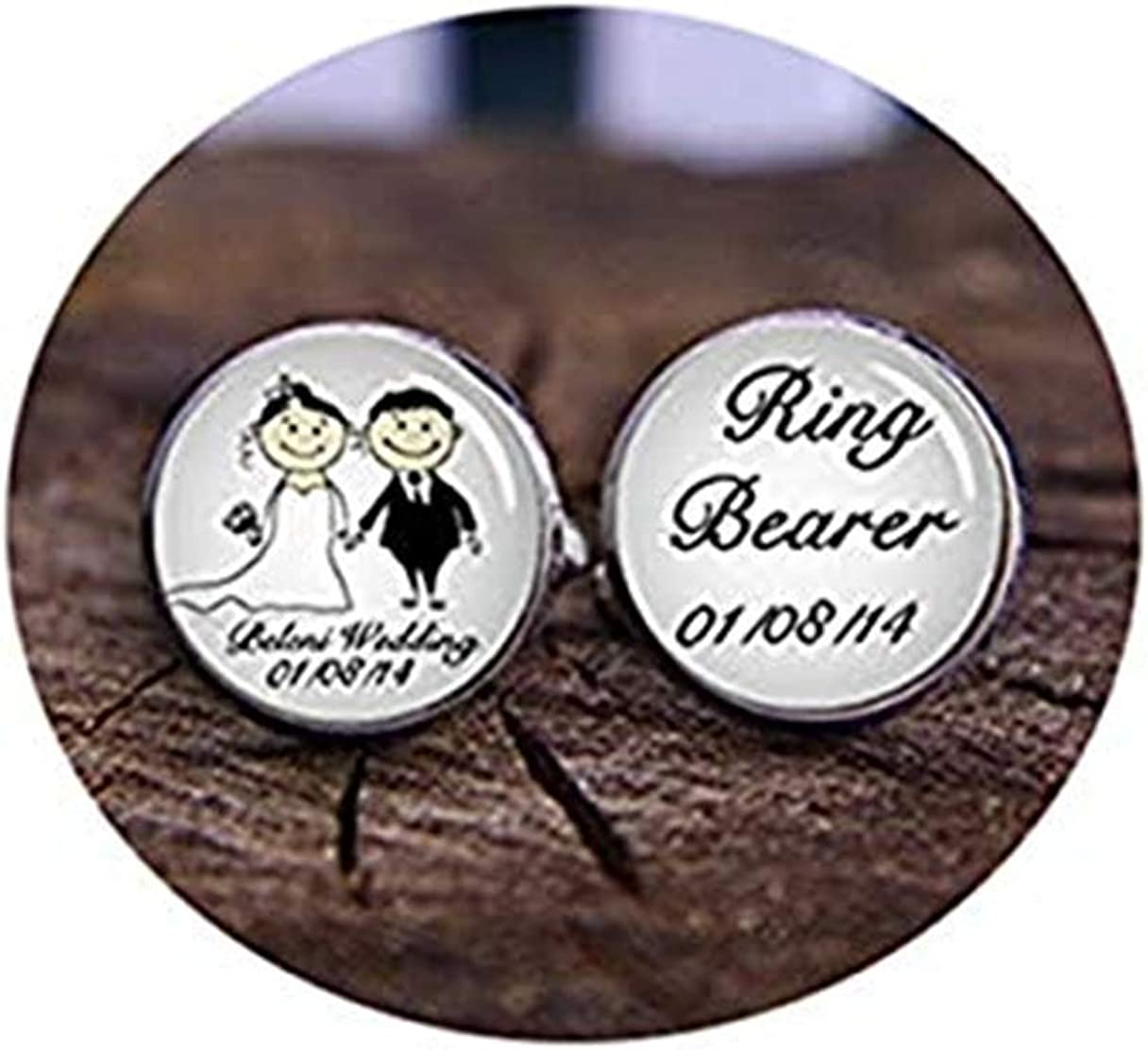 Death Devil Custom Cuff Links,Ring Bearer Cufflinks, Custom Date Cuff Links, Custom Your Name Wedding Cufflinks, Groom Cuff Links, Gifts for Brother, Page Boy Cufflinks,Gift of Love