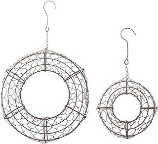 Fenteer 2-Pack Round Metal Wire Wreath Frame Form Hanger - Succulent Pot Metal Hanging Planter Plant Basket Holder - S & L