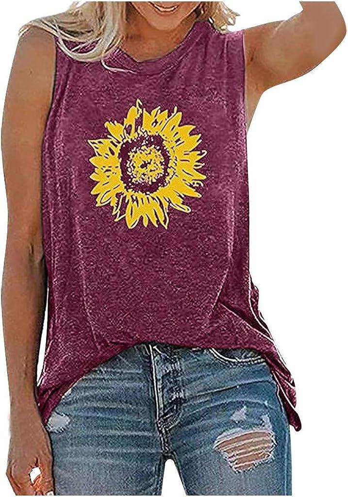 Womens Summer Tops,Womens Sunflower Cute Printed Vest Tshirt Sleeveless Workout Blouse Casual Summer Tank Top Tunic Tee