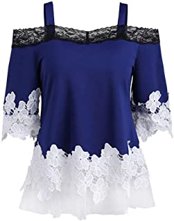 Women's Floral Off Shoulder Camis Blouse Sexy Lace Mesh T-Shirt Short Sleeve Casual Tops