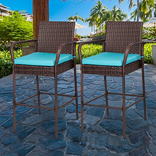 Kinbor Set of 2 Wicker Outdoor Bar Stools Patio Bar Chairs Pool Furniture with Arms Cushions and Footrest