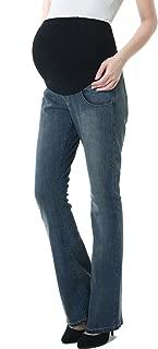 Momo Maternity Womens Stretchy Full Panel Flare Leg Denim Jeans
