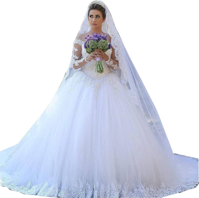 LISA.MOON Women's Sweetheart Long Sleeves Lace Applique Ball Gown Wedding Dress