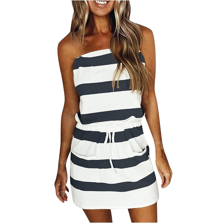 Women Shirt Dresses For Summer Strapless Stripe Bandage P Nashville-Davidson Mall Casual famous