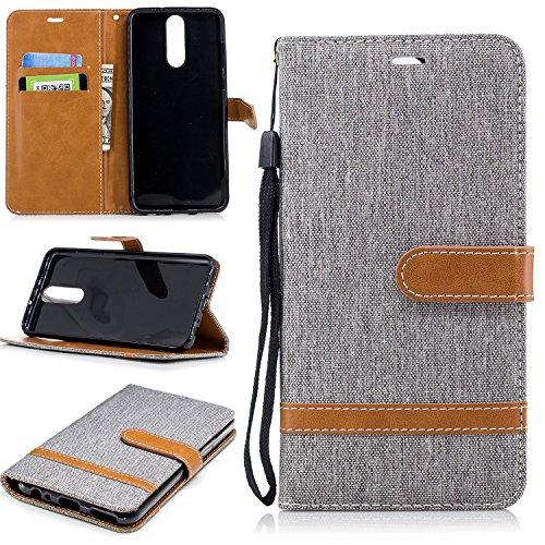 Hülle für Huawei [Mate 10 Lite] Hülle Handyhülle [Standfunktion] [Kartenfach] [Magnetverschluss] Schutzhülle lederhülle klapphülle für Huawei Mate10 Lite - DEBF030599 Grau