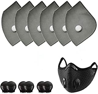 New 1 Pack Black Reusable Dust Face Guard 6 Pcs ctivated Carbon Filters Replacements Parts Set of Fit for Most Cycling dust cover Filters with 6 Exhaust Valves
