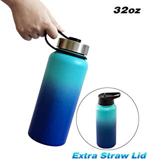 MKHS Double Wall Vacuum Insulated 32oz Water Bottle, Wide Mouth Stainless Steel Water Bottle with Extra Straw Lid for Camping, Jogging, Hiking, Sweat Proof, Portable, Ultra Light