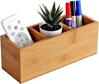 YOSCO Bamboo Remote Control Holder,Caddy,Organizer,Desktop Storage with 3 Compartments,Multiuse for Store TV Remotes,Game ...