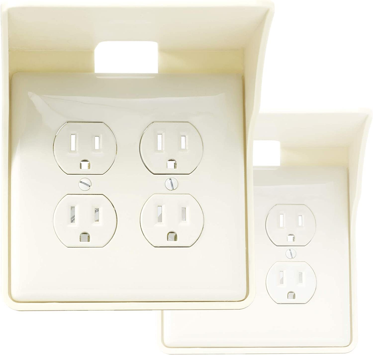 Storage Theory   Double Outlet Power Perch   Ultimate Outlet Shelf   Easy Inssizetion, No Additional Hardware Required   Holds Up to 10lbs   Light Almond color   2 Pack