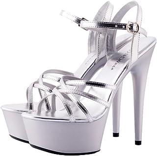 ALUA- Women's Shoes - Sweet Flower 15cm High Heel Stiletto Banquet Sandals ( Color : Silver , Size : 36-Shoes long230mm )