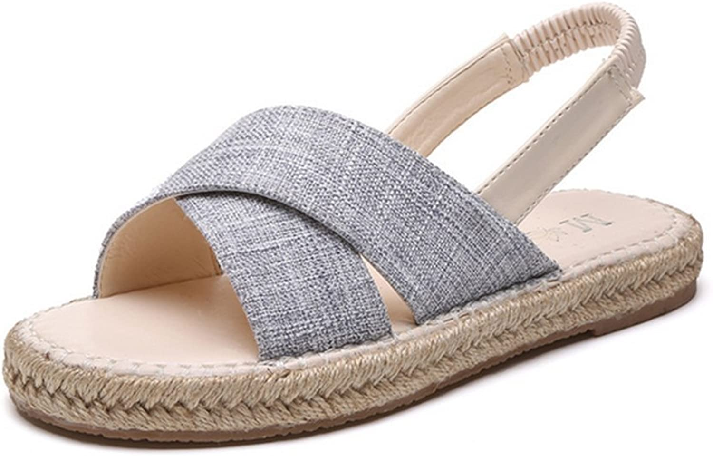 Weiwei Ladies Flat Sandals in The Summer,Comfort Linen Slippers Wear Predective Sandals