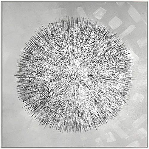 ThinkingPower Pintura de Lienzo de acrílico Plateado Caldero de construcción de Estilo nórdico Arte de Pared con Textura Abstracta Moderna para Sala de Estar 50x50cm (19.6