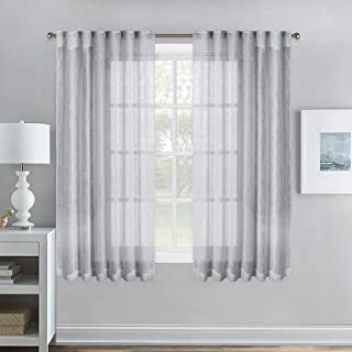 NICETOWN Bedroom Linen Look Curtains, Rod Pocket & Back Tab Semi-Transparent Privacy Vertical Soft Voile Window Treatment for Kids Room/Nursery, 52 inches W x 63 inches L, Light Grey, Set of 2