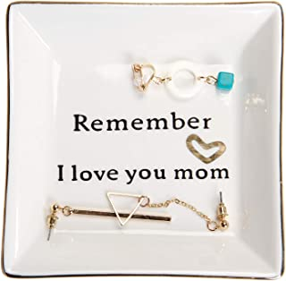 Best HOME SMILE Ceramic Ring Dish Decorative Trinket Plate -Remember I Love You Mom-Gifts for Mom Review