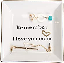 HOME SMILE Ceramic Ring Dish Decorative Trinket Plate -Remember I Love You Mom-Gifts for Mom
