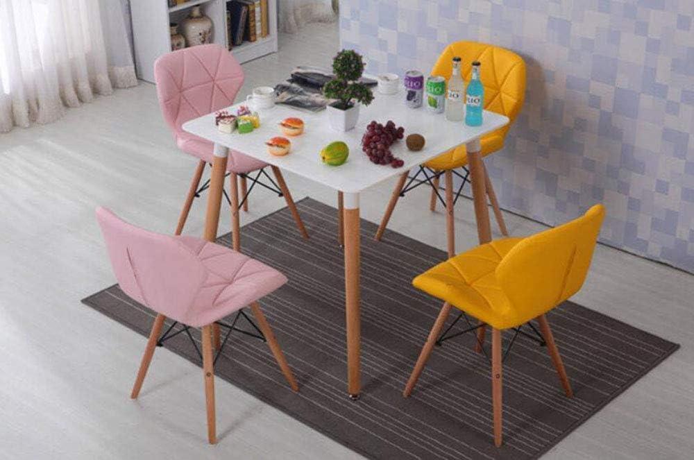 MU Chaise de Salle à Manger à Dossier Simple Nordique créatif, Tissu en Cuir + Chaise en Bois Massif pour Chaise, Chaise créative Noir