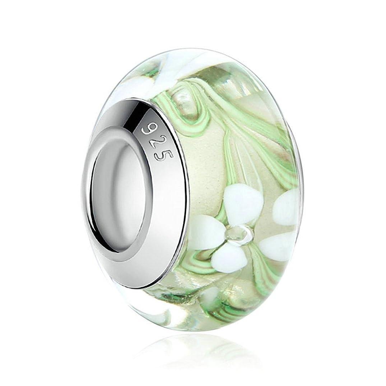 MIADEAL Flower Charm, Murano Glass, Silver, Pandora Compatible