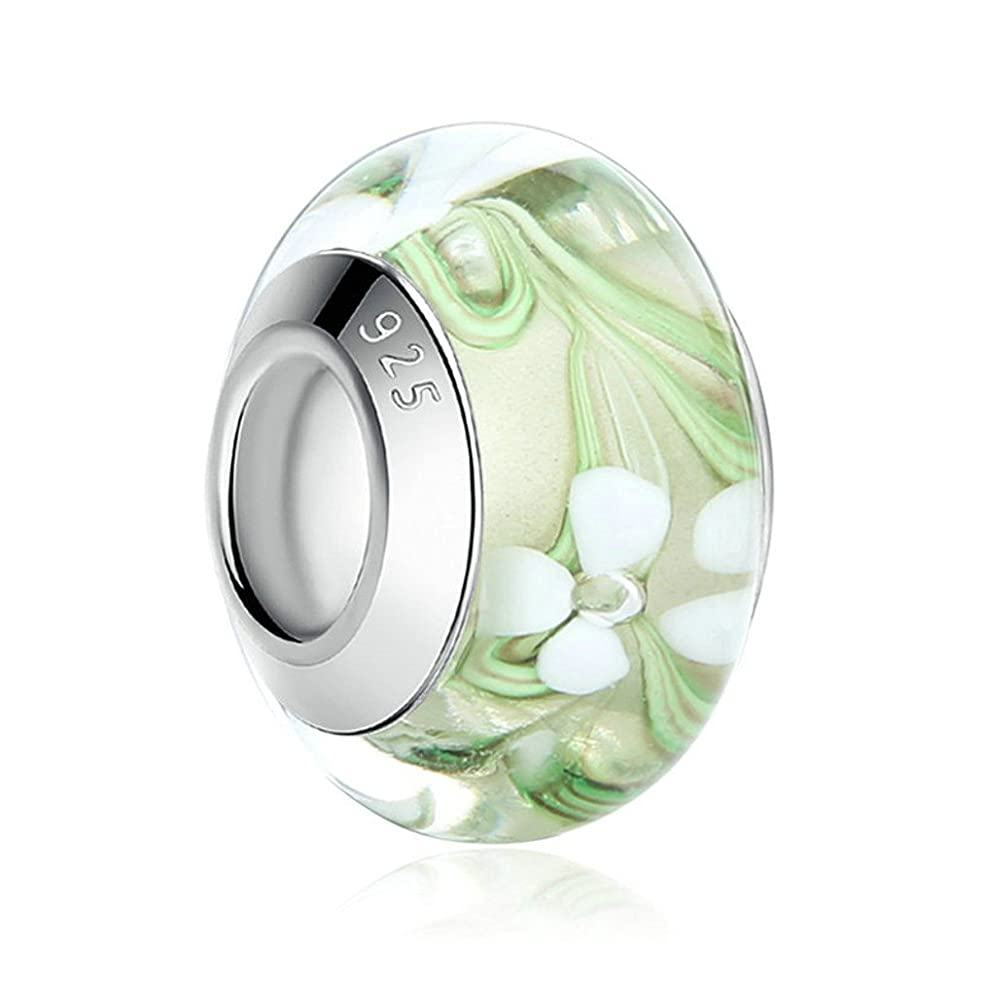 MIADEAL Flower Charm, Murano Glass, Silver, Pandora Compatible