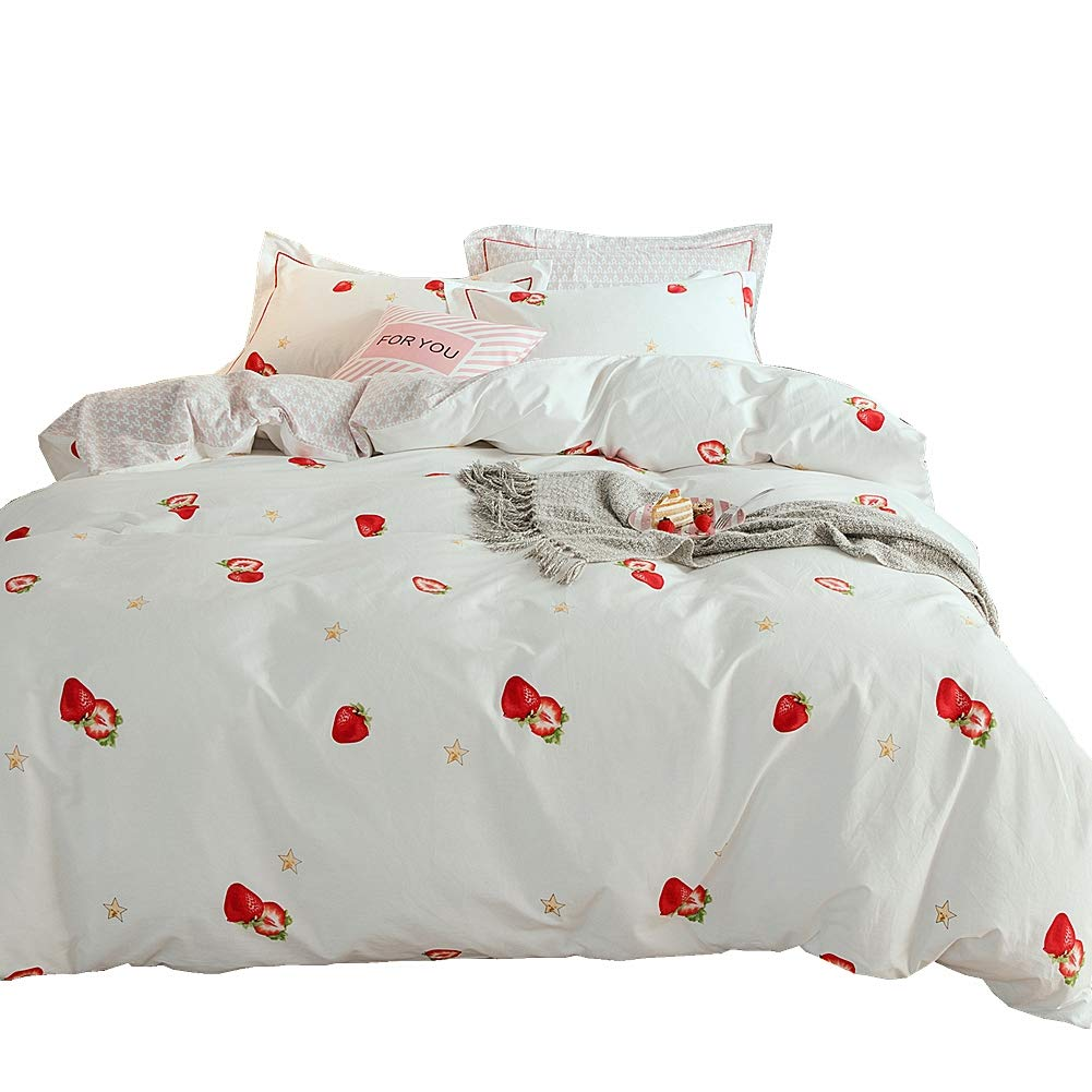 Girls Fruits Comforter Cover Full for Girls Women Strawberry Duvet Cover Cute Cartoon Decorative Microfiber Bedspread Cover With 2 Pillow Shams Tropical Funny Bedding Set 3 Pcs Zipper Soft
