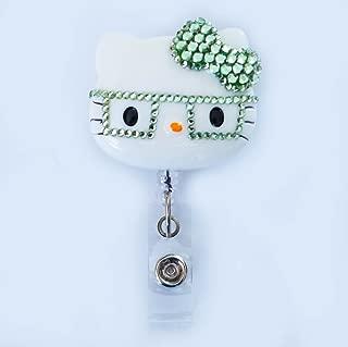LOVEKITTY - 3D Hello Cutie Light Green Nerd Kitty Inspired Rhinestone Badge Reel/Name Badges/ID Badge Holder