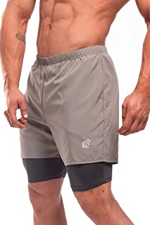 Jed North Men's Performance Training 2 in 1 Compression Running Yoga Active Gym Shorts