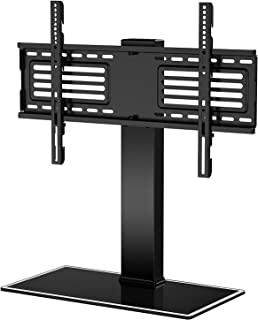 FITUEYES Universal TV Stand for 32-65 Inch LCD LED Flat Curved Screen, Swivel Height Adjustable with 8mm Tempered Glass Ba...