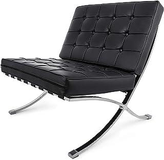 Ybzx Silla duradera de estilo barcelonés de mediados de siglo barcelonés cómoda réplica de ocio Chaise moderna clásica silla de salón para sala de estar y oficina pórtico (negro Lounge Chiar)
