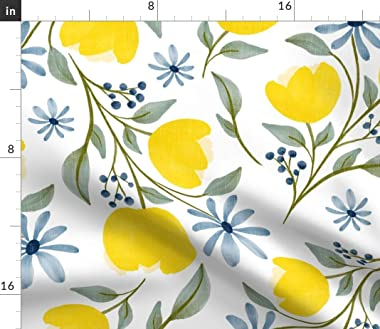 Roostery Duvet Cover, Blue Navy Green Floral Flowers Vintage Print, 100% Cotton Sateen Duvet Cover, Twin