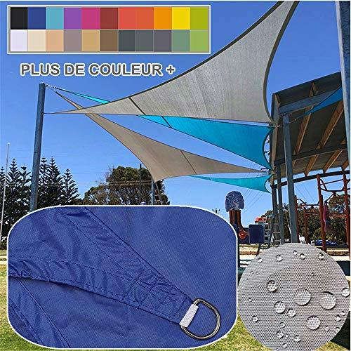 5x5x5m / bleu royal, Voile d'ombrage Impermeable Triangulaire, polyester déparlent Matière 95% anti UV, Abri Voiture de Pergola pour Patio Extérieur, Jardin, Serre, Terrasse et Camping Toile d'ombrage