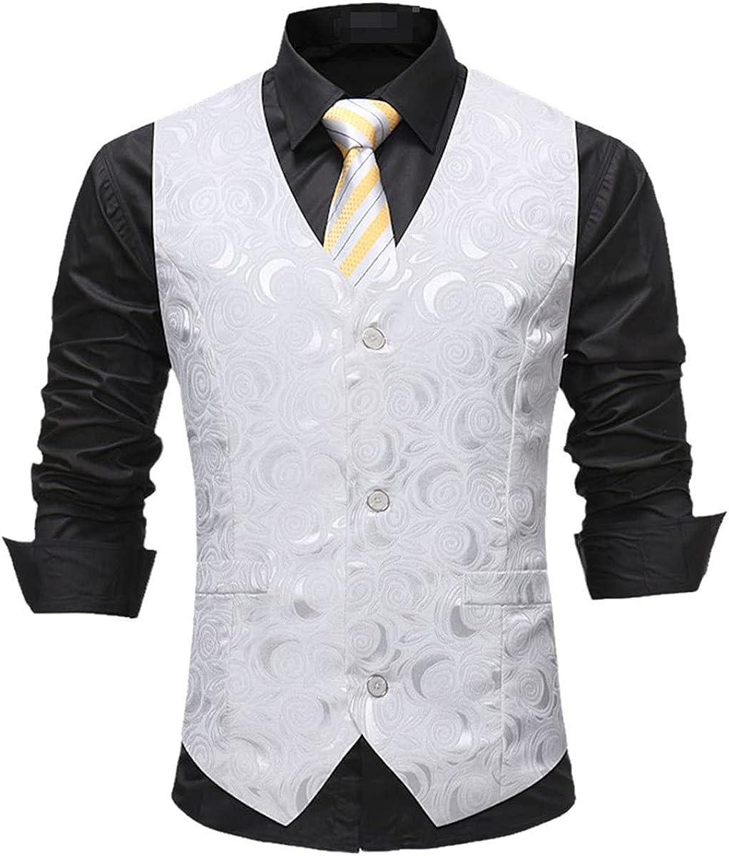 Men's gentleman white single-breasted suit vest fashion rose print wedding vest business tuxedo vest