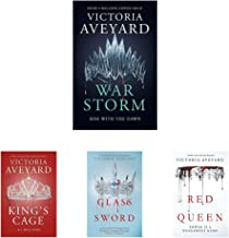 War Storm: Red Queen Book 4+King's Cage (Red Queen 3)+Glass Sword+Red Queen: 0 (Set of 4 Books)
