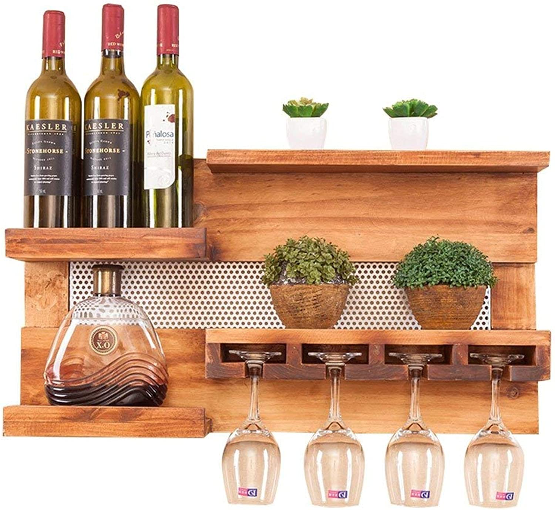 Red Wine Shelf Wood Wine Rack Wall-Mounted Restaurant Living Room Bar Simple Wine Glass Rack Creative Racks Goblets Wine Racks Wine Cabinets