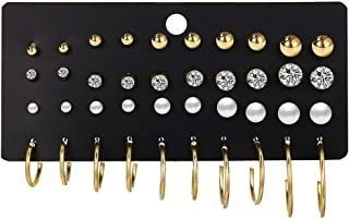 Exquisite And Affordable Fashion Alloy Faux Pearls 20 Pairs Of Earrings Set for Women Girls Simple Hoop Earring Set Girl's...