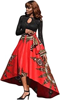 iTLOTL New African Women Printed Summer Boho Long Dress Beach Evening Party Maxi Skirt
