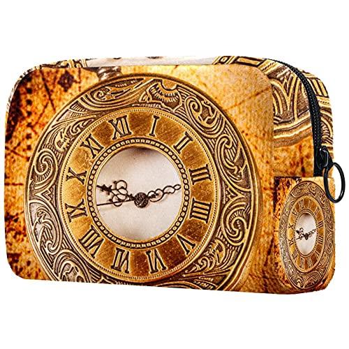 Neceser portátil, ligero, clásico, bolsa de cosméticos de viaje y bolsa de maquillaje, kit de artículos de tocador, organizador con reloj de bolsillo dorado con cremallera