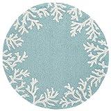 Liora Manne 1620/04 Coral Border Aqua Rugs 5' Round