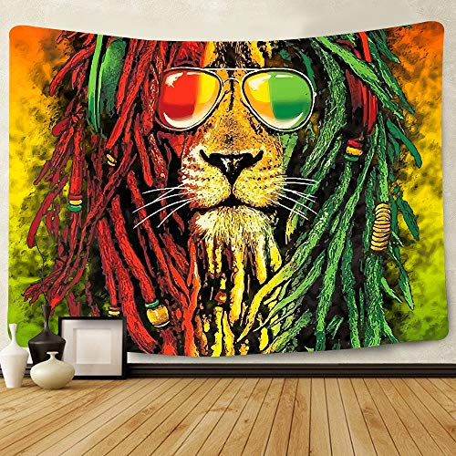 Simsant Rasta Rastafarian Tapestry Lion Head Marley Bob Tapestry Wall Hanging Backdrop for Living Room Bedroom Dorm Psychedelic Decor Tapestry SIZY0596