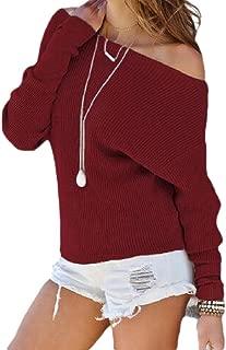 Womens Off Shoulder Long Sleeve Pullover Loose Sweater Sweatshirt