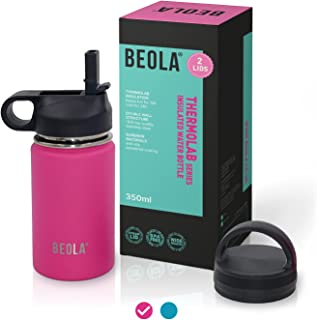 BEOLA 350ml Kids Water Bottle 18/8 Stainless Steel 304 Double Wall Insulated Thermos Bottle with Straw Lid and wide mouth,...