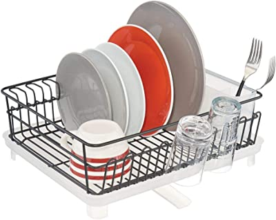 mDesign Large Metal Kitchen Countertop, Sink Dish Drying Rack - Removable Plastic Cutlery Tray, Drainboard with Adjustable Swivel Spout - 3 Pieces - Black Wire/Clear Frost