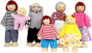 Wooden Doll House Family Dress-up Characters, Family Role-Play Dress-up Characters Grandpa, Grandma, Mom, Dad, Children, B...