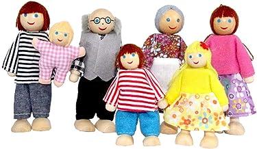 QTFHR Wooden Doll House Family Dress-up Characters, Family Role-Play Dress-up Characters Grandpa, Grandma, Mom, Dad, Child...